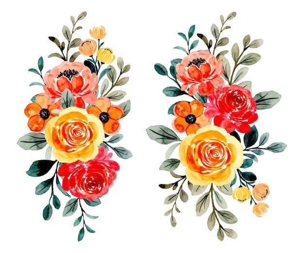 Colección ramo de flores con acuarela