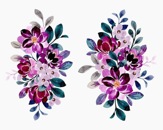 Colección de ramo de flores violetas con acuarela