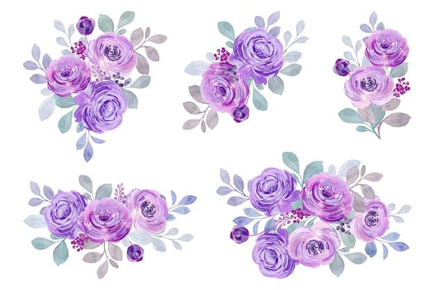 Colección de ramo de rosas moradas en acuarela
