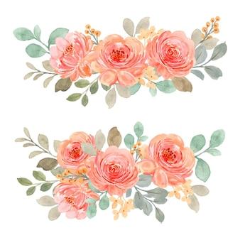 Colección de ramo de rosas rosadas naranjas con acuarela
