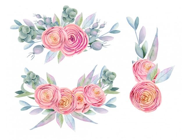 Colección de ramos de acuarelas aislados de rosas rosadas hermosas, bayas decorativas, hojas y ramas verdes, pintadas a mano
