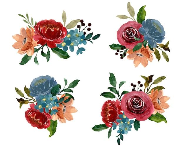 Colección de ramos florales en acuarela burdeos