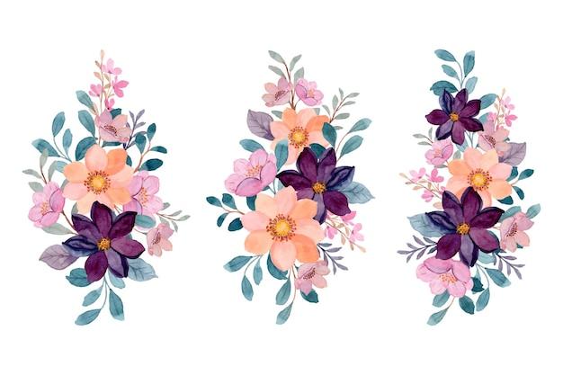 Colección de ramos florales en acuarela rosa y burdeos