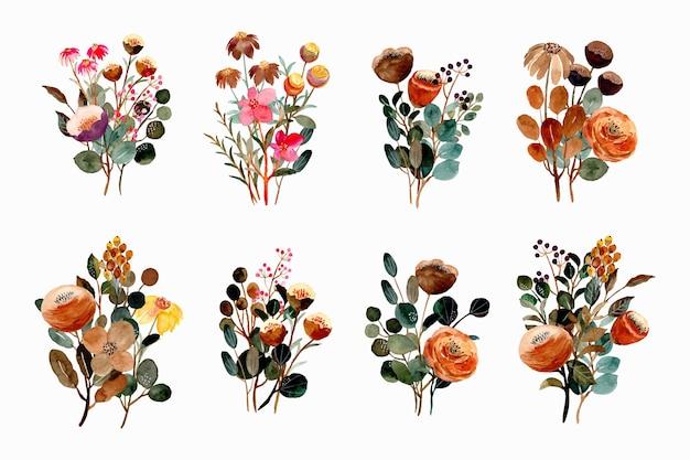 Colección de ramos florales en acuarela