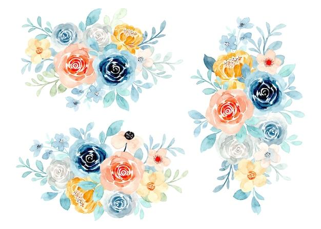 Colección de ramos florales con acuarela