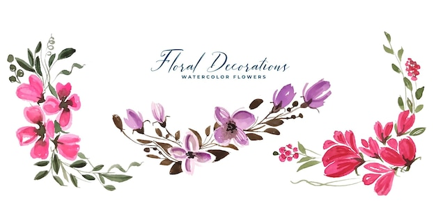 Colección de ramos florales con bordes de flores en acuarela