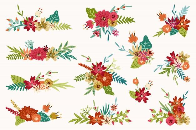 Colección de ramos de flores. arreglos florales