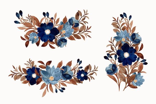 Colección de ramos de flores azules en acuarela