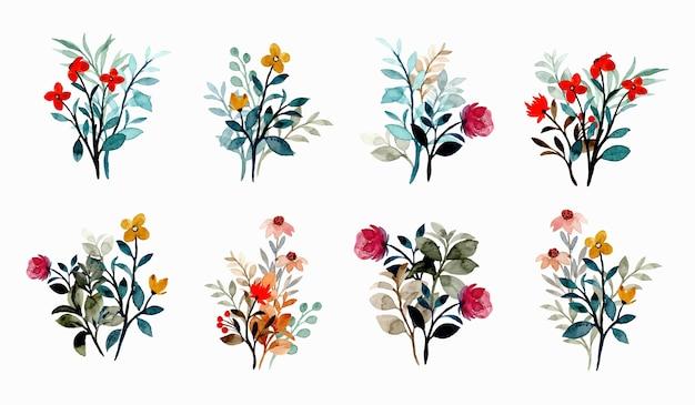 Colección de ramos de flores silvestres con acuarela