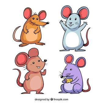 Colección de ratones dibujados a mano