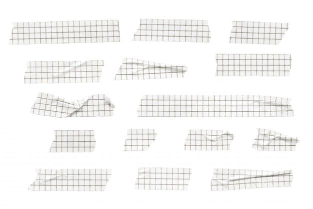 Colección de rayas de cinta washi estampada con cuadrícula de vectores, cintas washi arrugadas y dobladas