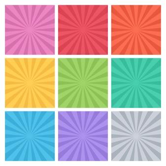 Colección de rayos de colores.