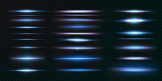 Colección de rayos realistas transparentes de luz.