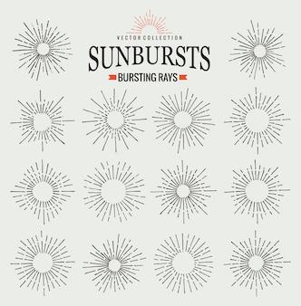 Colección de rayos de sol de moda retro dibujado a mano rayos. símbolo de puesta de sol, amanecer y fuegos artificiales radiales. elementos de diseño. rayos de sol vintage en color negro