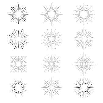 Colección de rayos de sol planos lineales