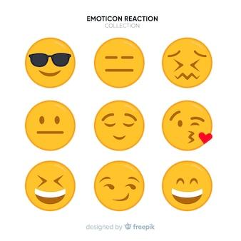 Colección de reacciones de emoticonos flats