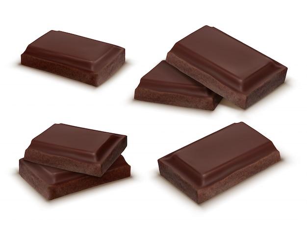 Colección realista 3d de piezas de chocolate. brown deliciosas barras para embalaje simulacro, paquete