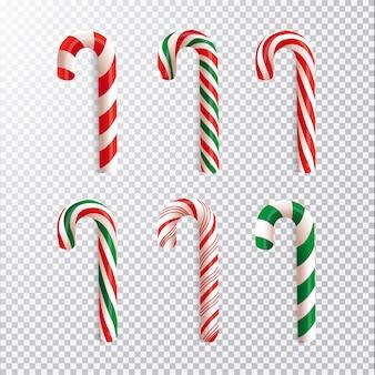 Colección realista de bastones de caramelo navideños