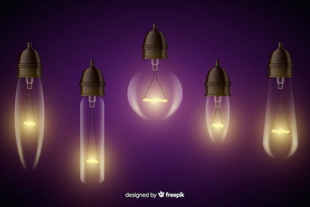 Colección realista de bombillas