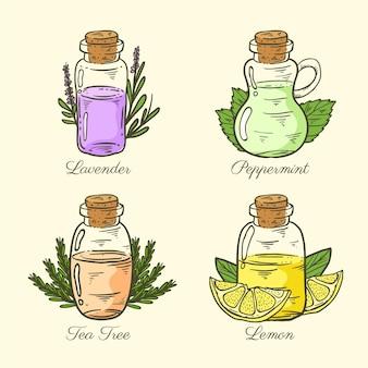 Colección realista de botellas de aceite esencial dibujadas a mano