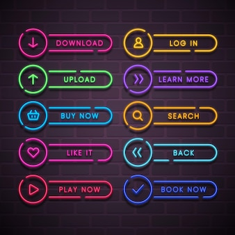 Colección realista de botones de llamada a la acción de neón