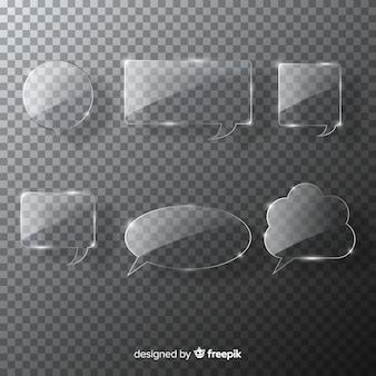 Colección realista de burbujas de discurso de cristal