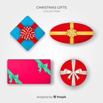 Colección realista de cajas de regalos de navidad