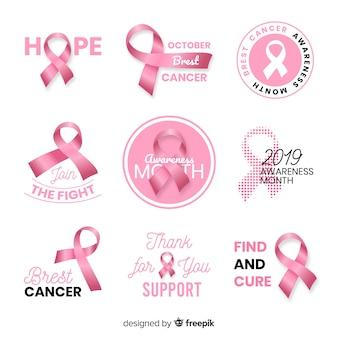 Colección realista de concientización sobre el cáncer de mama