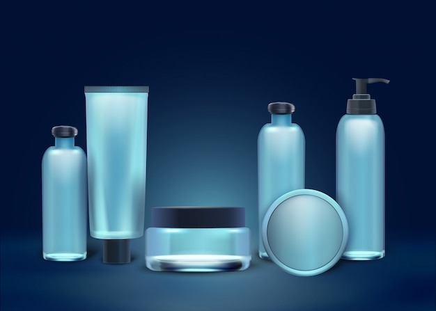 Colección realista de cosméticos naturales en botellas.