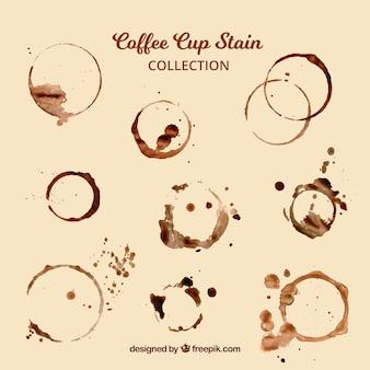 Colección realista de mancha de taza de café