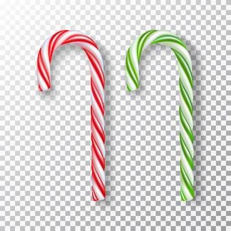 Colección realista de dulces navideños en rayas rojas y blancas o blancas y verdes, aisladas.