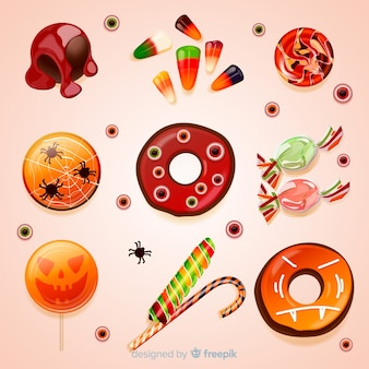 Colección realista de dulces sabrosos de halloween
