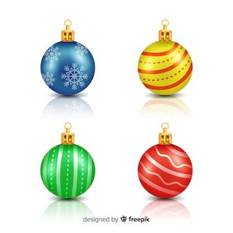 Colección realista y elegante de bolas de navidad