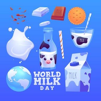 Colección realista de elementos del día mundial de la leche.