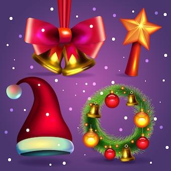 Colección realista de elementos de feliz navidad