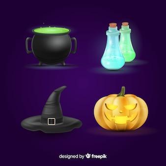 Colección realista de elementos de halloween
