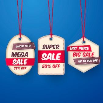 Colección realista de etiquetas colgantes de ventas