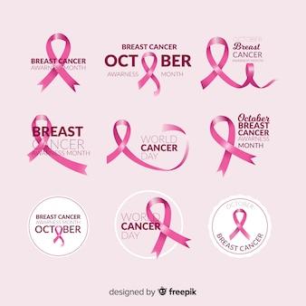 Colección realista de etiquetas de concientización sobre el cáncer de mama