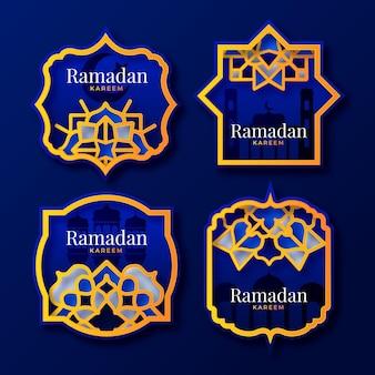 Colección realista de etiquetas de ramadán