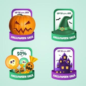 Colección realista de etiquetas de rebajas de halloween