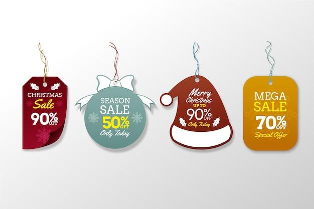 Colección realista de etiquetas de rebajas navideñas