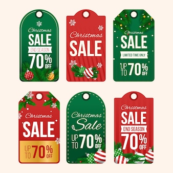 Colección realista de etiquetas de venta de navidad
