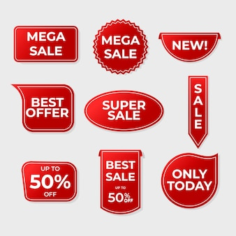 Colección realista de etiquetas de ventas rojas