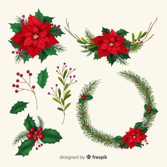 Colección realista de flores y guirnaldas navideñas