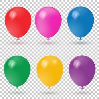 Colección realista de globos de colores 3d.