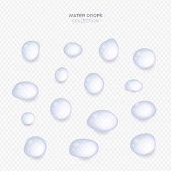 Colección realista de gotas de agua transparente.