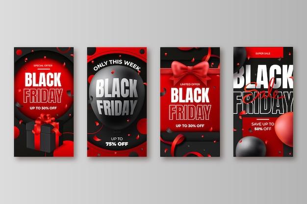 Colección realista de historias de instagram de black friday