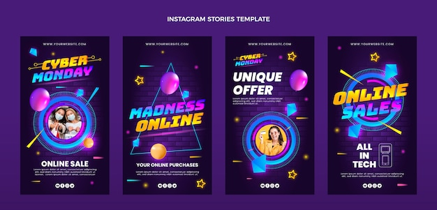 Colección realista de historias de instagram de cyber monday
