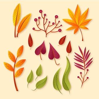 Colección realista de hojas de otoño