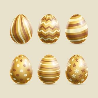 Colección realista de huevos de pascua dorados